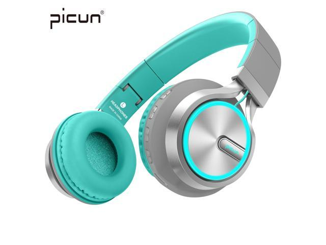 Black Picun Wireless Bluetooth Headphones Led Foldable Headsets Support 7 Colors Lights 20 Hour Playtime Tf
