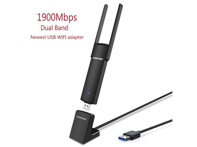 1900Mbps USB WiFi Adapter, High Gain Dual Band 5 8GHz Wireless Network  Speed 1300Mbps + 2 4GHz 600Mbps, 802 11ac USB 3 0 Wireless Adapter for  Desktop,