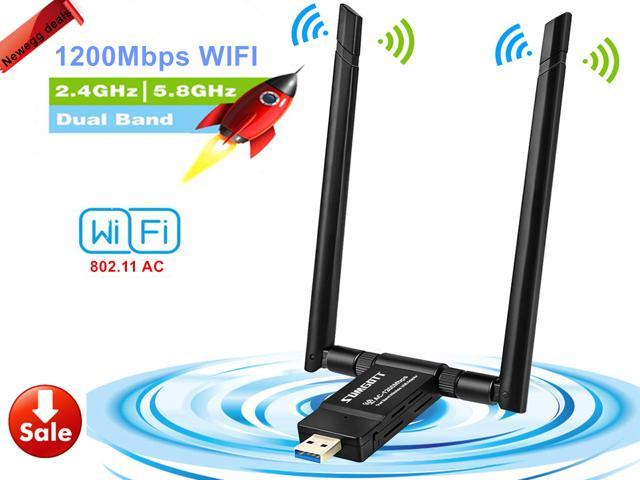 1200Mbps Wireless USB Wifi Adapter, AC1200 Dual Band 2.4GHz/300Mbps 5GHz/867Mbps wifi Lan Card,802.11 ac/a/b/g/n, High Gain Dual 5dBi Antennas Network dongle for Windows XP/7/8/10,MAC OS X