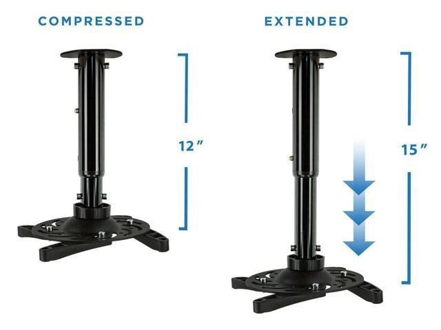 Height Adjustable Pole and Arms ViewSonic Projectors Optoma Black Projector Ceiling Mount Universal Bracket for Epson MI-602B Mount-It Benq