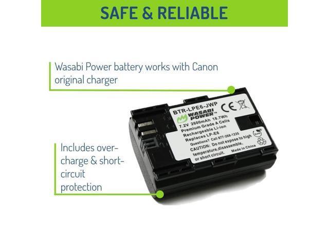 2 Batteries + Charger Wasabi Power Canon LP-E6 LP-E6N Replacement