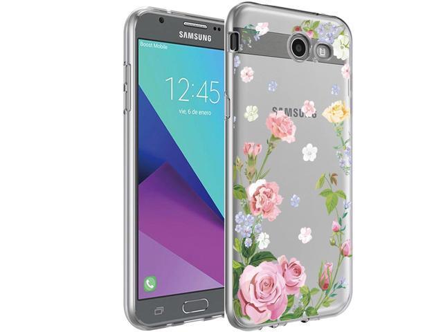 Galaxy J3 Emerge Case, BAISRKE Slim Shockproof Carnation Floral Soft  Flexible Clear TPU Back Cove for Galaxy J3 Emerge/J3 Prime/J3 2017/J3  Mission/J3