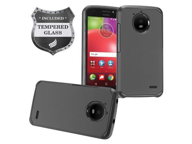 Eaglecell - Motorola Moto E4 XT1767 (Moto E 4th Gen  2017) - Rubberized  Hybrid Hard Case + Tempered Glass Screen Protector - AH2 Black - Newegg com