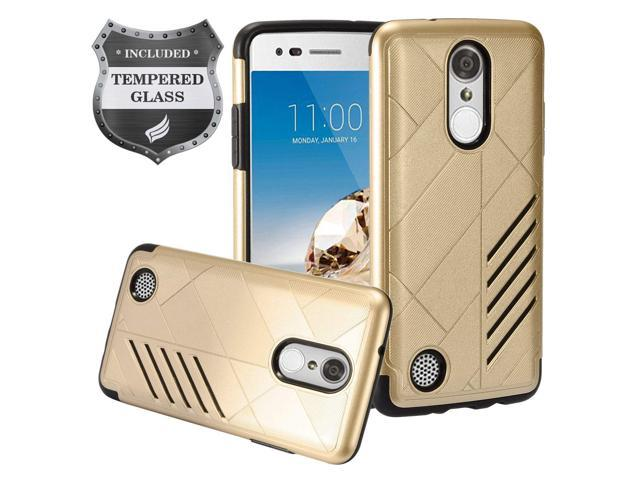 Eaglecell - LG Aristo MS210, K8 (2017), K4 (2017), Fortune, Phoenix 3,  Risio 2, Rebel 2, Rebel 3 - Slim Hybrid Hard Case + Tempered Glass Screen