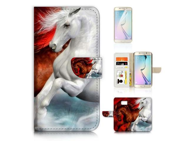 ( For Samsung S7 Edge , Galaxy S7 Edge ) Flip Wallet Case Cover & Screen  Protector Bundle - A21141 Brown and White Horse - Newegg com