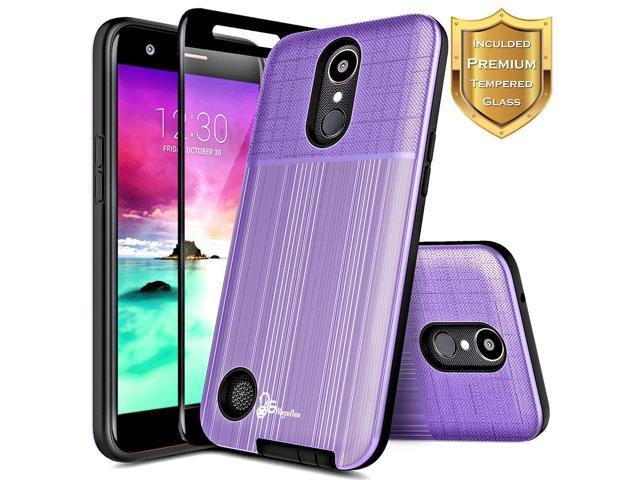 LG K30 Case, LG Premier Pro/Xpression Plus/Phoenix Plus /K10 2018 /Harmony  2 w/[Full Cover Tempered Glass Screen Protector], NageBee Premium Brushed