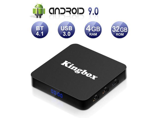 Kingbox Android TV Box 9 0, K4 S Android Box with 4GB RAM 32GB ROM  Quad-Core Support BT 4 1/ WiFi/ 4K/ 3D/ H 265 Smart TV Box with Remote  (2019 Newest