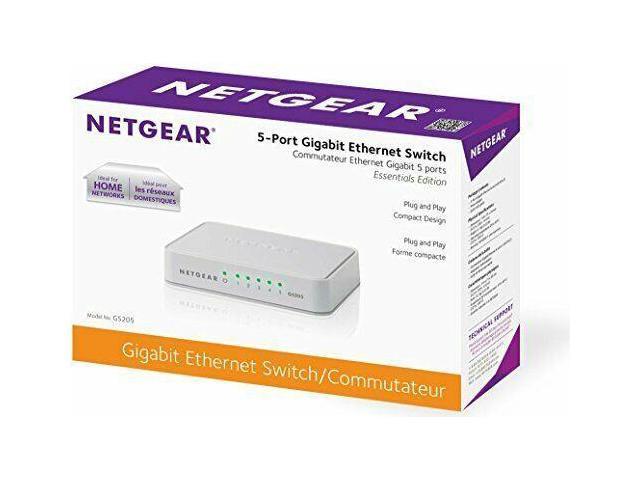 Desktop NETGEAR 5-Port Gigabit Ethernet Unmanaged Switch GS20 10//100//1000Mbps