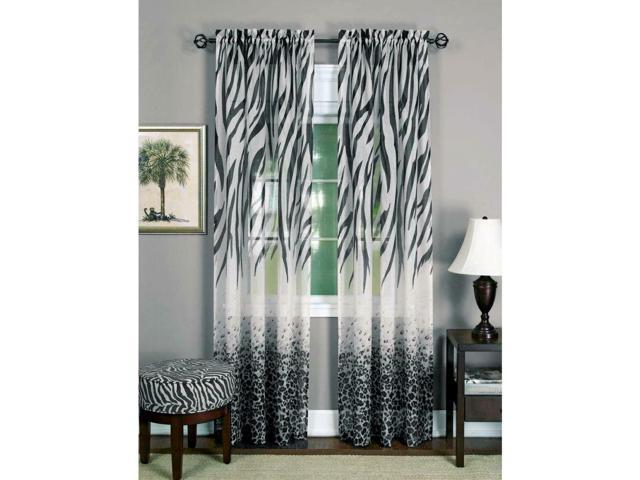 Window Home Bedroom Curtain Panel Animal Prints Leopard Zebra Decor Sheer  Glam