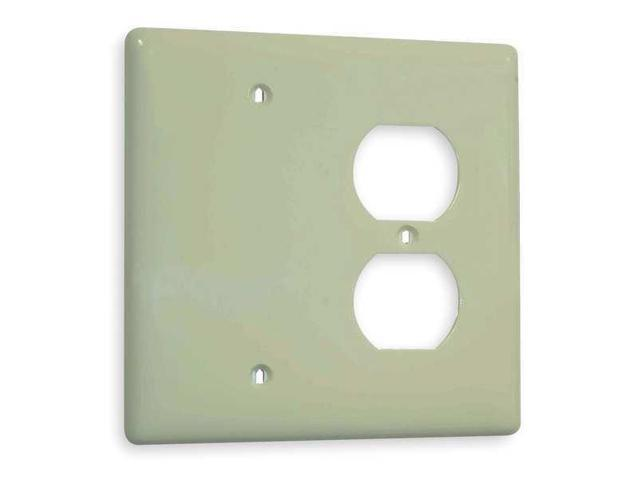 HUBBELL WIRING DEVICE-KELLEMS NP2GY Toggle Switch Wall Plate,2 Gang,Gray
