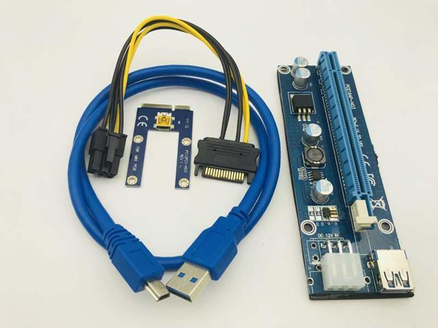 USB 3.0 Pcie PCI-E Express 1x To 16x Extender Riser Card Adapter Power BTC Cable