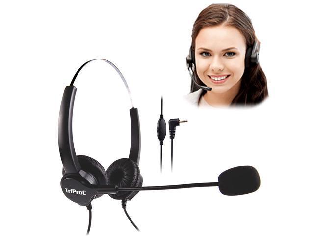 Tripro Binaural Dc 2 5mm Telephone Headset For Landline Phones Compatible For Jabra Cisco Polycom Panasonic Binaural Newegg Com