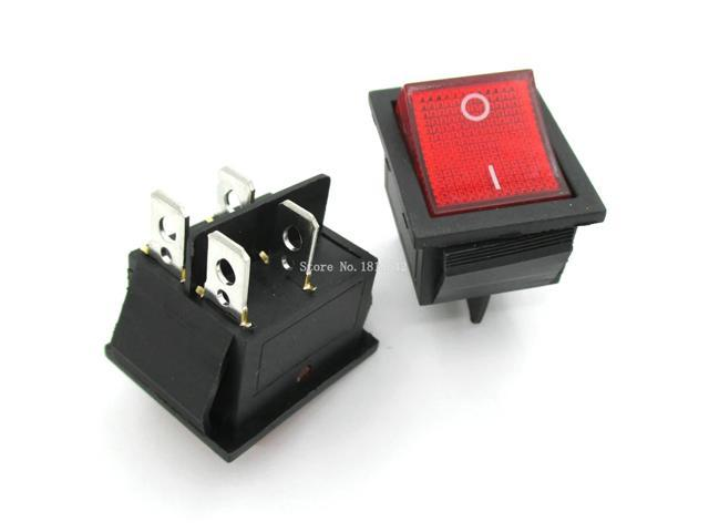 DP-iot 2Pcs/Lot Red Light 4 Pin On/off Boat Button Switch 250V 15A AC AMP  125V/20A P0 5 25*31mm Rocker Switches KCD4-202 - Newegg com