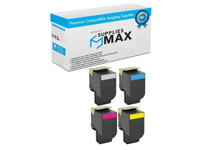 SuppliesMAX Compatible Replacement for Lexmark CX-410//510 GSA High Yield Toner Cartridge Combo Pack 80C0HBCMY NO. 801H BK//C//M//Y