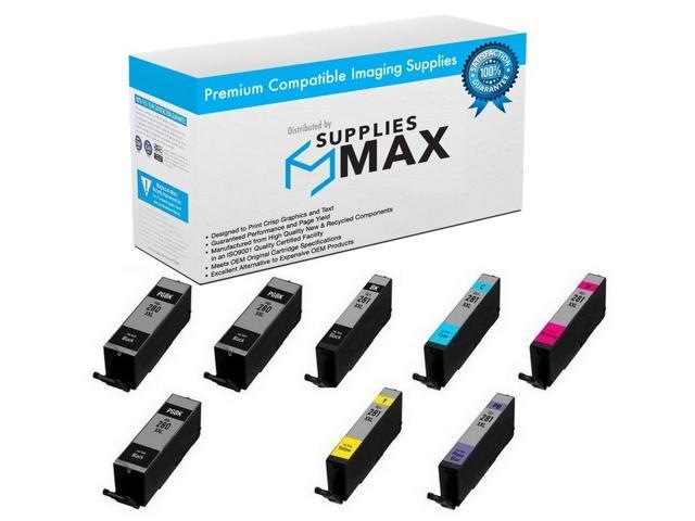 SuppliesMAX Compatible Replacement for Canon PIXMA TS-8120//8220//8320//9120 Super High Yield Inkjet Combo Pack PGI-280XXL//CLI-281XXLBCMYPB 2-BK//1-C//M//Y//PB