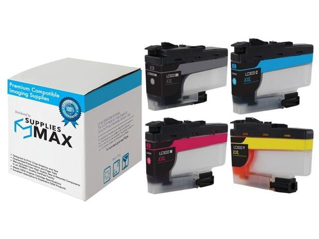 LC-3033XXLMP BK//C//M//Y SuppliesMAX Compatible Replacement for Brother DCP-J1100//MFC-J805//J815//J995//J1300DW Super High Yield Inkjet Combo Pack