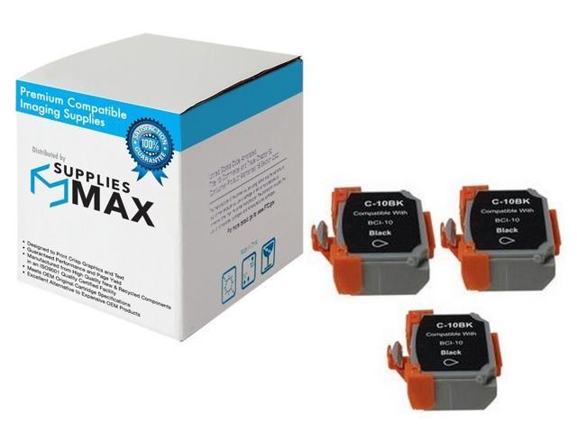 0956A003/_3PK BCI-10 3//PK SuppliesMAX Compatible Replacement for Canon BJ-30//BJC-35//50//55//70//80//85 Black Inkjet