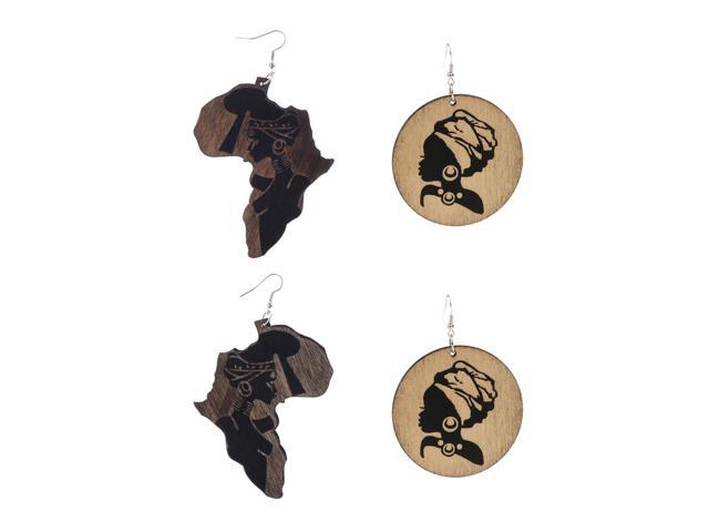 4 Pairs Wooden Africa Map African Woman Ethnic Tribal Hook Dangle Earrings