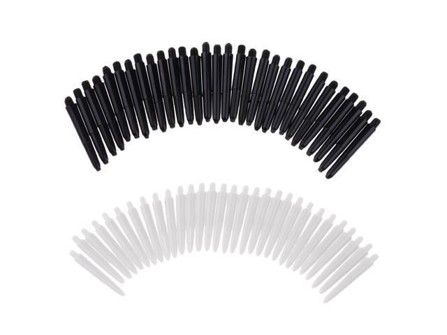 60Pcs 35mm 2BA Thread Plastic Dart Stems Shafts Soft Tip Darts White /& Black