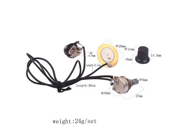 Homyl Guitar Prewired Piezo Pickup with Volume Control Knob/&Tuning Pegs/&Fret Wrie Set for Acoustic Cigar Box Guitar
