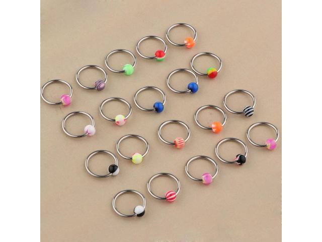 20 Pieces Stainless Steel Ball Loop Nose Ring Hoop Septum Studs