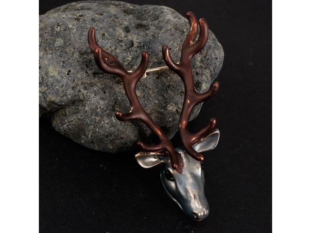 5.9x3.4cm Vintage Brooch Antlers Deer Elk Head Lapel Pin Christmas Jewelry