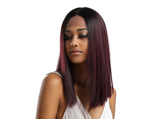 Natural Middle Part Wig Synthetic Long Straight Hair For Woman Ombre 03 Newegg Com