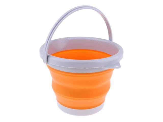Folding Collapsible Silicone Water Bucket Outdoor Basin S Pink