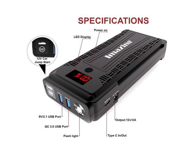Imazing Portable Car Jump Starter Up to 8L Gas or 8L Diesel Engine 2500A Peak 20000mAH QC 3.0 and LED Light 12V Auto Battery Booster Portable Power Pack with LCD Display Jumper Cables