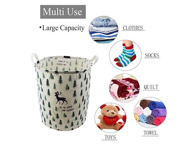 Cotton Linen Waterproof PE Coating Sundries Desktop Storage Basket Sundries Box with Handle Multi-Pattern Bin Closet Toy Container Fabric Basket Towels Clothes Kids Bedroom Toys