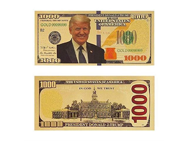 10 TEN DONALD TRUMP 24K GOLD PLATED $1000 DOLLAR BILLS WITH CA CERTIFICATES!