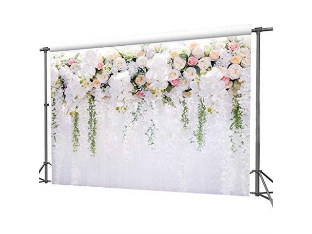 White Flower Backdrop Curtain Floral 3D Flower Wedding Birthday Party Background