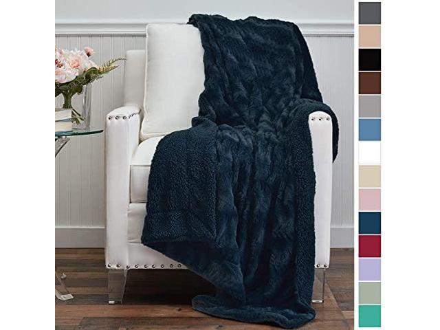 The Connecticut Home Company Luxury Faux Fur with Sherpa Reversible Kids Throw Blanket 65x50 Large Wrinkle Resistant Blankets Super Soft Warm Hypoallergenic Washable Couch or Bed Throws Ivory