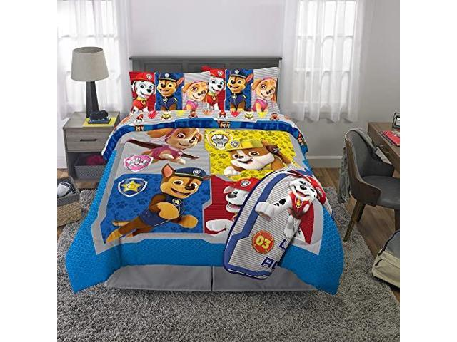 Paw Patrol Super Soft Kids Bedding Set 6 Piece Full Size Includes Grey Leap Into Action Throw Newegg Com