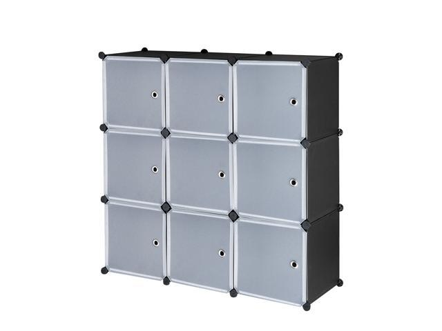 Cube Storage Organizer 9 Cube Closet Storage Shelves Diy Plastic Closet Cabinet Modular Bookcase Storage Shelving With Doors For Bedroom Living Room Office Closet Organization Shelving Newegg Com