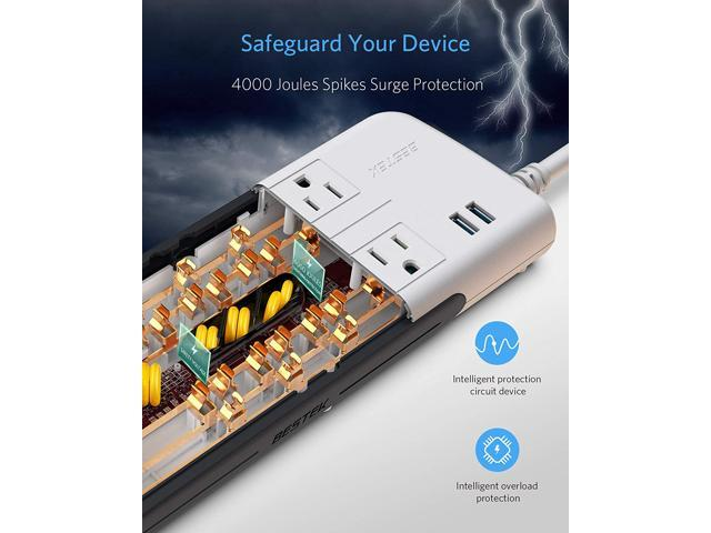 4000 Joules Surge Protector BESTEK Power Strips with 15A 125V AC 8-Outlet 4.2A
