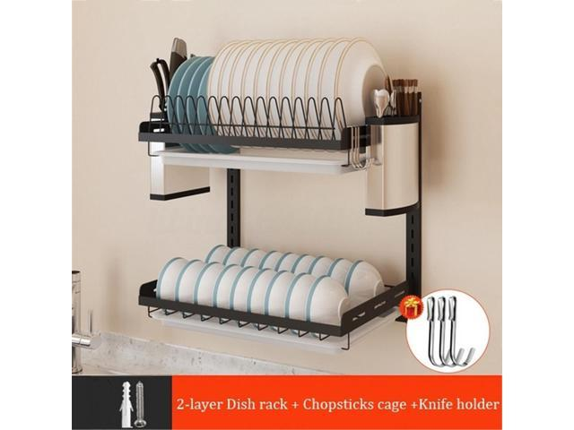 2/3 Tier Wall Dish Drying Rack Organizer Home Kitchen Collection Shelf  Drainer