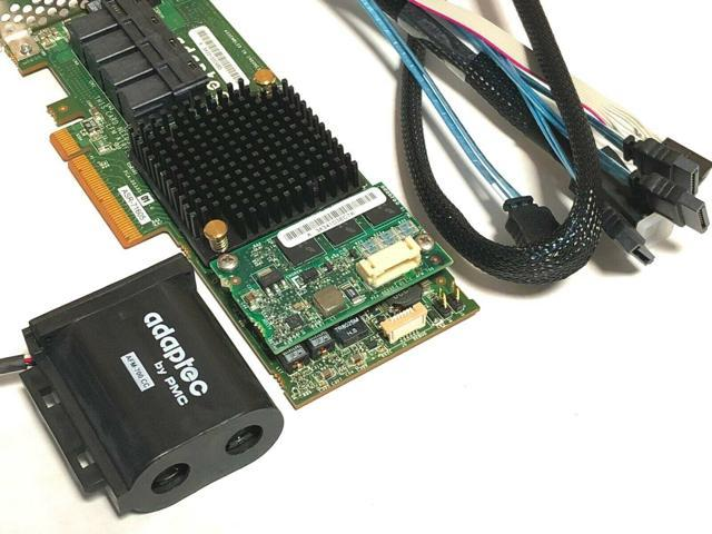 Adaptec ASR 71605 1GB 16Port PCIe Raid w// Battery /& 4x Cables SFF-8643 to SATA