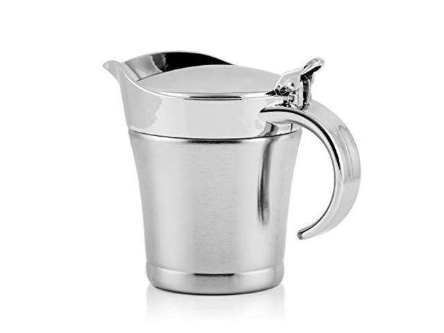 Kitchen Stainless Steel Gravy Boat Sauce Serving Jug Pourer with Lid Silver