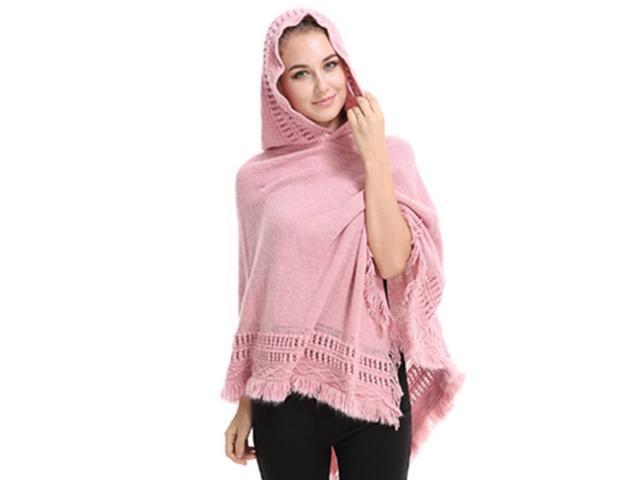 Hooded Crocheted Birds and Flowers shawl Poncho in Pink