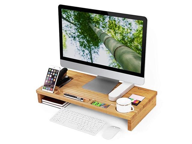 Monitor Stand Riser With Storage Organizer Office Computer Desk Laptop Cellphone Tv Printer Stand Desktop Container Bamboo Wood Natural Ulld201 Newegg Com