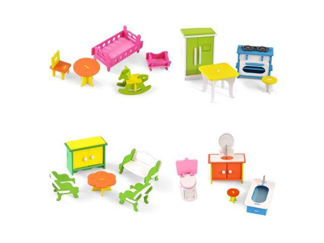 Wooden Colorful DIY Assembly Doll House Furniture Kit ...