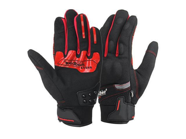 Street Motorcycle Gloves Racing Durable Motorbike Gloves Waterproof Touch Screen L/ Red