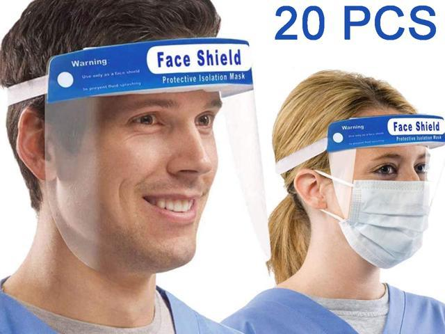 20 Pack Safety Face Shield Protection Cover Guard Reusable Transparent Anti-Fog