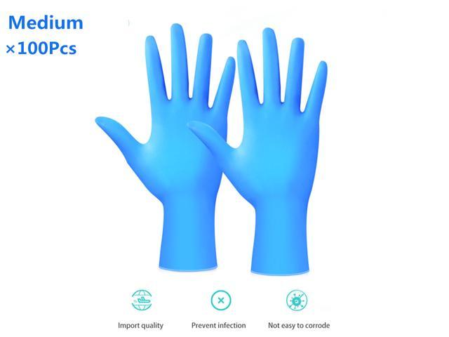 100Pcs Disposable Nitrile Gloves Protective Rubber Cleaning Gloves Laboratory Dental Examination Protective Gloves, Cool Blue(Medium)