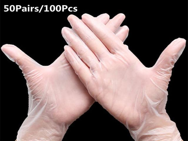 50Pairs/100Pcs Clear Vinyl Examination Gloves Latex Free Rubber, One-off Transparent Gloves