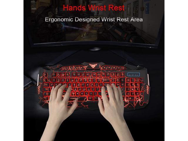 BlueFinger Backlight Gaming Keyboard,USB Wired Light up Keyboard,114 Keys Letters Glowing Keyboard,LED Light Keyboard for Game and Work Red Gaming Keyboard