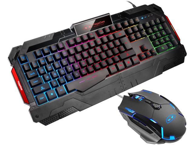 HOUER E-Sports Game Mechanical Keyboard Colorful Cool Backlit Game Home Breathing Adjustment Big Hand Support Keyboard