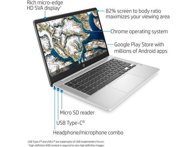 2020 HP Chromebook 14-inch HD Laptop, Intel Celeron N4000, 4 GB RAM, 32 GB eMMC, Chrome (14a-na0010nr, Mineral Silver)