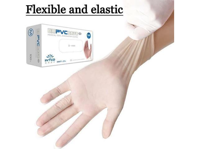 100 pcs Clear Nitrile Industrial Powder & Latex Free Disposable Gloves - L